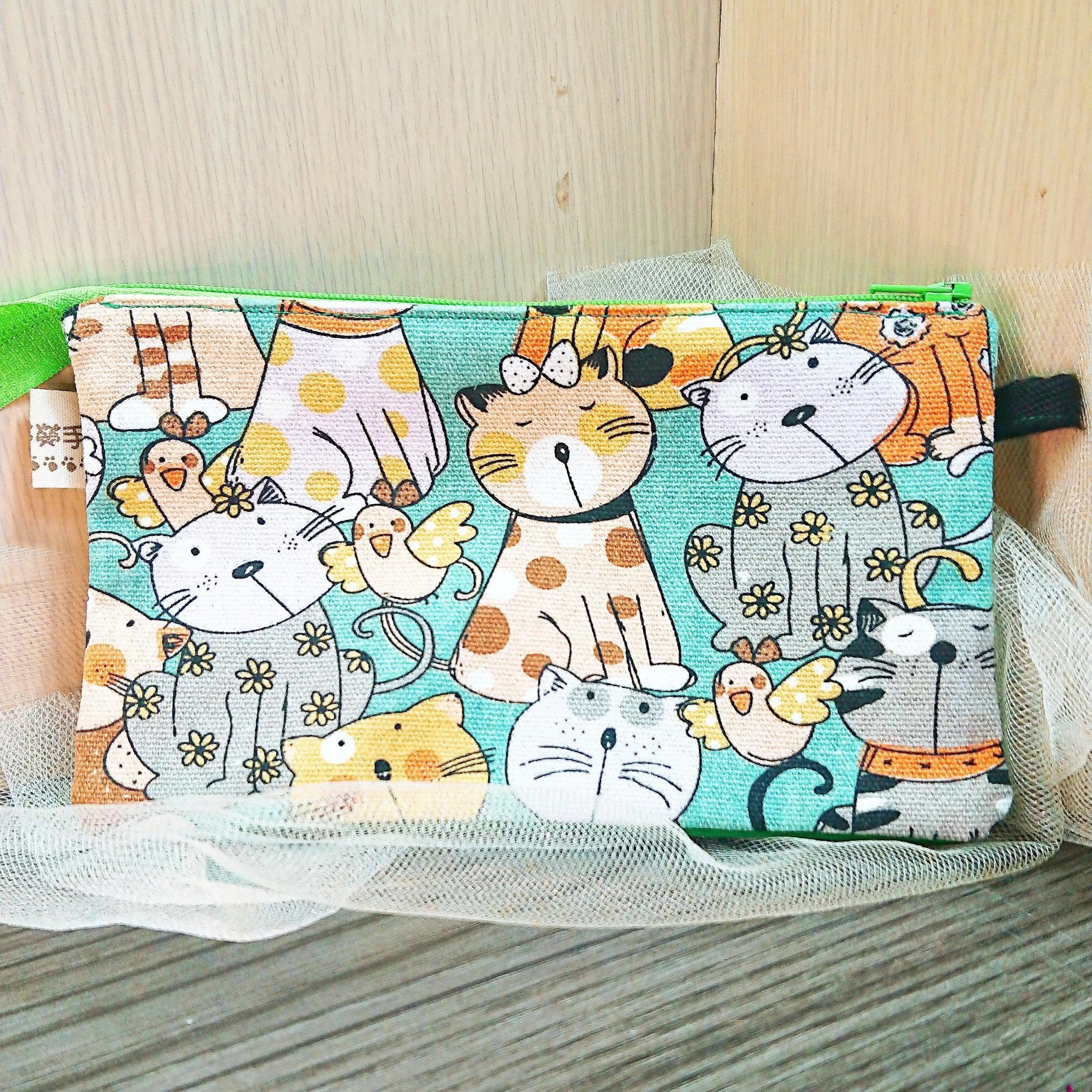 傢飾藝品-手作織布萬用包(貓咪綠)