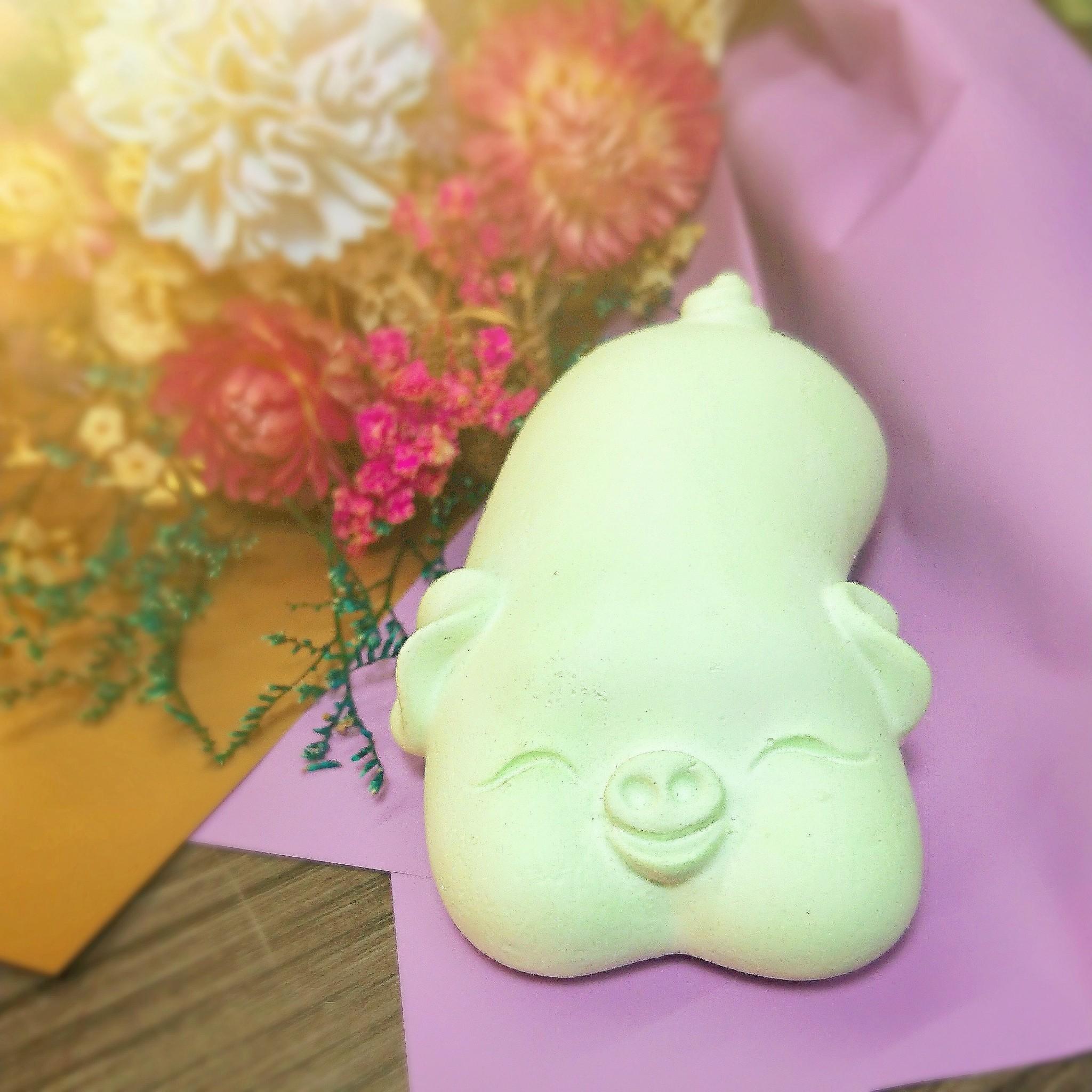 傢飾藝品-福氣綠豬擴香石