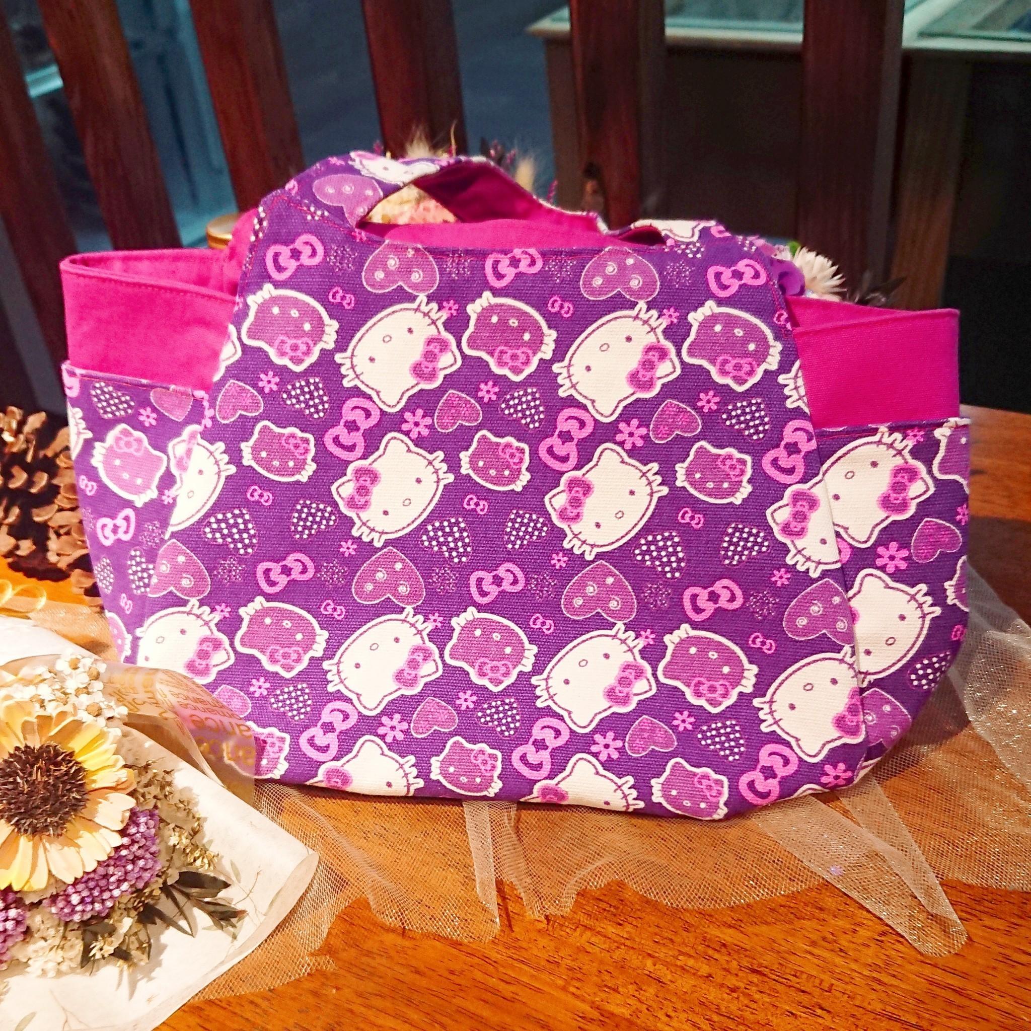 傢飾藝品-愛心紫Kitty手提包